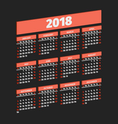 three dimensional 2018 year calendar vector image vector image