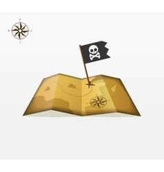 Treasure map with coordinates and pirate vector image vector image