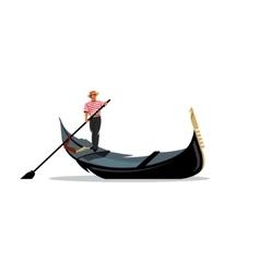 Venice gondola gondolier rowing oar sign vector