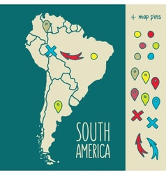 Vintage Hand drawn South America travel map with vector image vector image