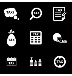 White tax icon set vector