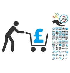 Pound cash out icon with 2017 year bonus symbols vector