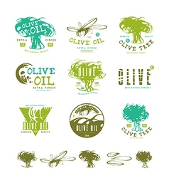 Set of label and badges for olive oil vector