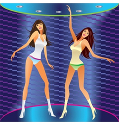 Dancing girls on stage in a club vector