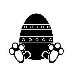 easter egg with bunny paw pictogram vector image