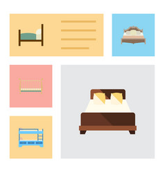 flat bed set of cot bed mattress and other vector image