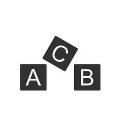 black icon on white background toy blocks vector image