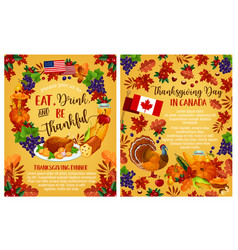 Thanksgiving day canadian greeting posters vector