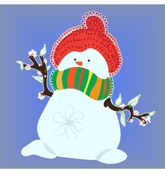 Snowman in spring on blue background vector