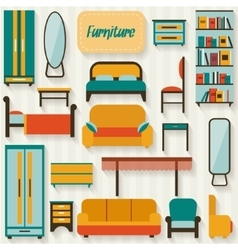 Furniture set for rooms of house vector