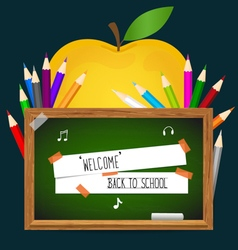 Welcome back to school with blackboard and apple vector