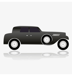 One isolated black simple old car eps10 vector