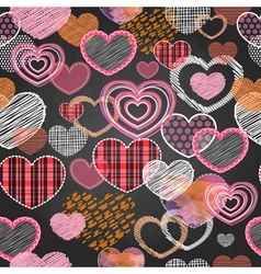 Seamless pattern of valentine love hearts vector