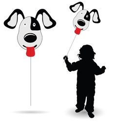 Child holding balloon silhouette vector