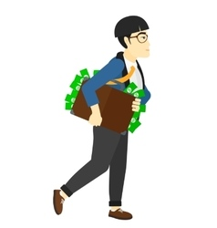 Man with suitcase full of money vector