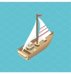 Yacht at sea isolated icon isometric vector