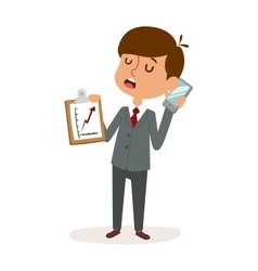 Boy businessman holding blank phone cartoon vector