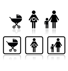 Baby icons set - carriage pregnant woman family vector