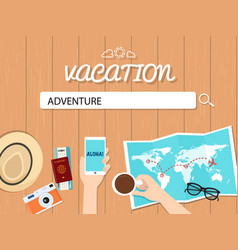 Adventure search graphic for vacation vector