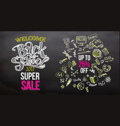 back to school super sale on blackboard vector image