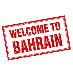 Bahrain red square grunge welcome isolated stamp vector