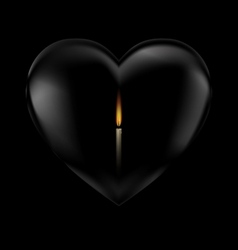 black heart and candle vector image vector image