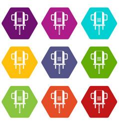 Boer drill icon set color hexahedron vector