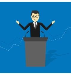businessman talking on podium vector image