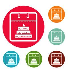 calendar birthday icons circle set vector image