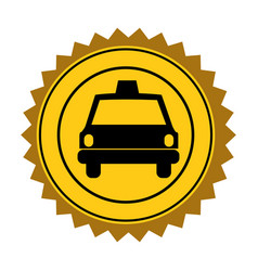 color circular seal of taxi car vector image vector image