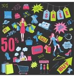 Colored Shopping doodles Sale hand drawn style vector image vector image