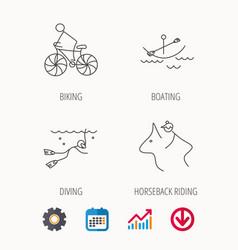 Diving biking and horseback riding icons vector