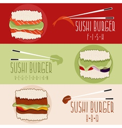flat design banners with sushi burger theme vector image vector image
