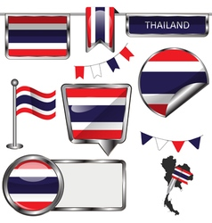 Glossy icons with Thai flag vector image