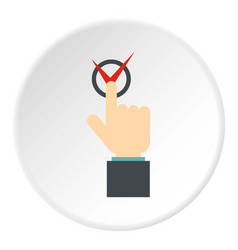 Hand finger pressing button with red tick icon vector