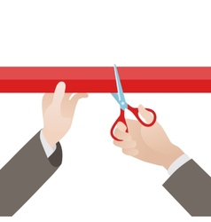 Hand with scissors cut the red ribbon vector image