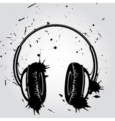 Headphones grunge style vector image vector image