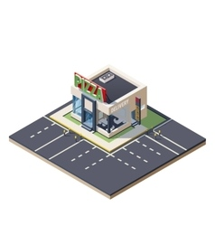 Isometric building Pizza restaurant vector image