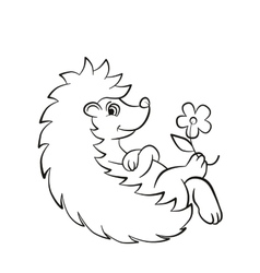 Little cute hedgehog lays and smiles vector
