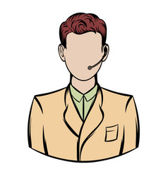 man with headset icon cartoon vector image vector image