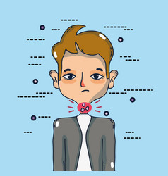 Man with sore throat infection symptoms virus vector