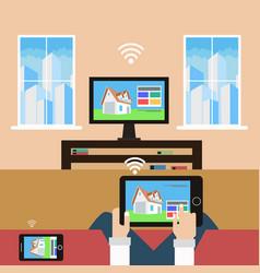 Management house through modern technology vector