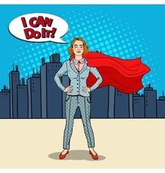 Pop Art Confident Business Woman Super Hero vector image vector image