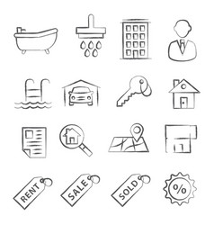 real estate doodle icons vector image vector image