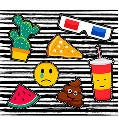 retro patch icon set in 80s fashion style vector image vector image
