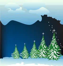 Snow-forest whit blue clouds vector