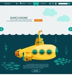 Submarine undersea SEO website template vector image vector image