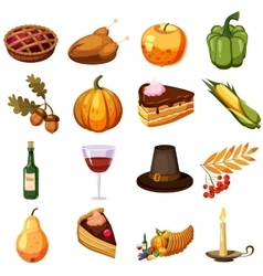 Thanksgiving Day icons set cartoon style vector image vector image