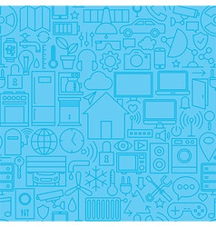 Thin smart home line seamless light blue pattern vector