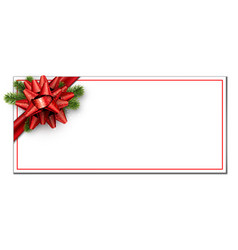 white christmas card with red bow vector image